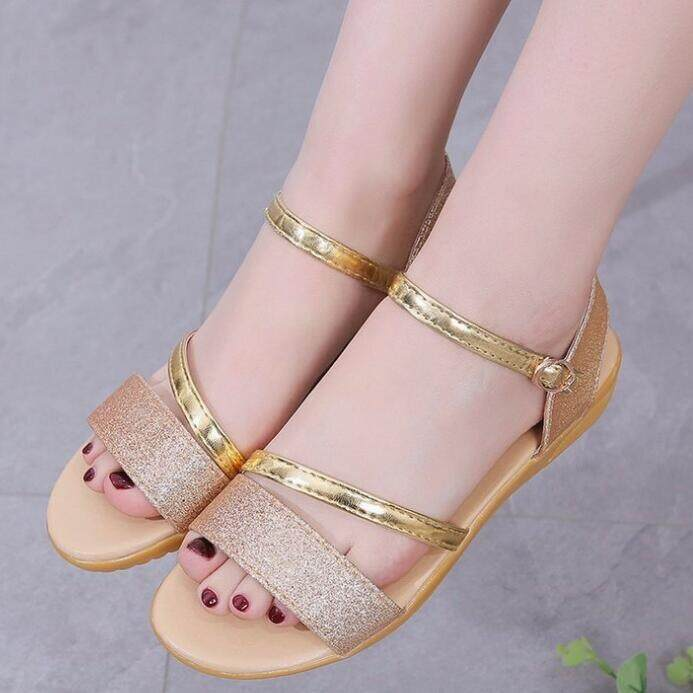 Women's Summer Casual Peep Toe Low Heels Beach Sandals Bling Strappy Rubber Sole Shoes 3 Colors