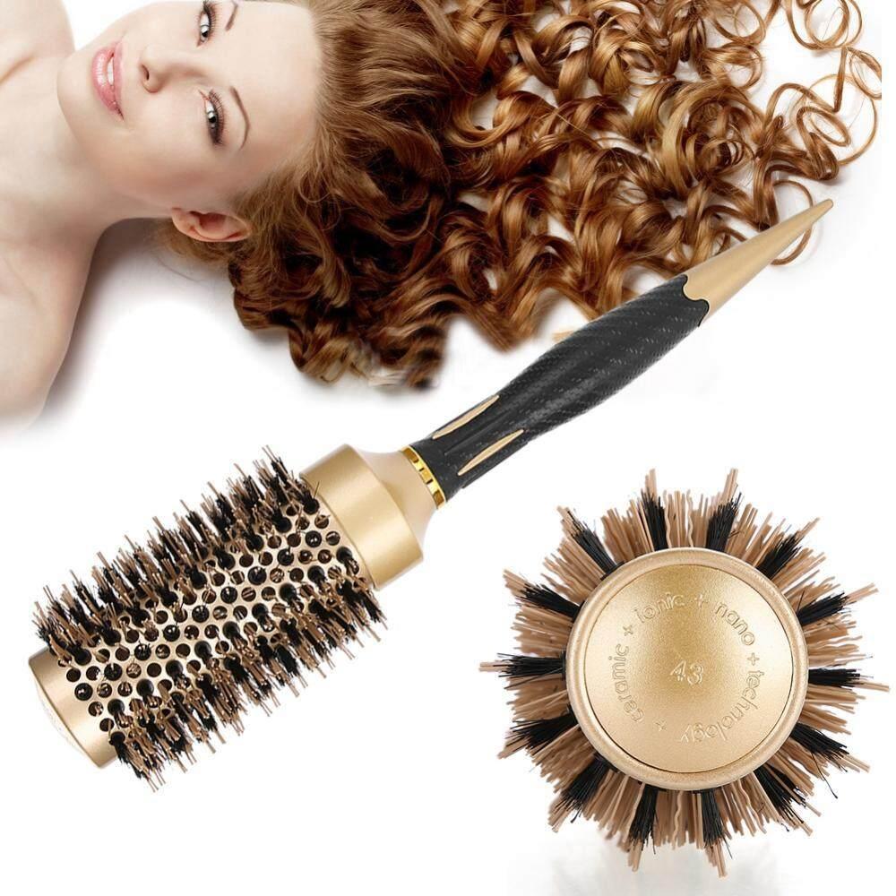 【ELE】Portable Anion Anti-Static Round Sisir Rambut Salon Penataan Sikat Emas &