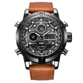 YH Luxury Dual Movt ผู้ชายหนัง Quarz Analog ดิจิตอล LED กีฬานาฬิกาข้อมือ-