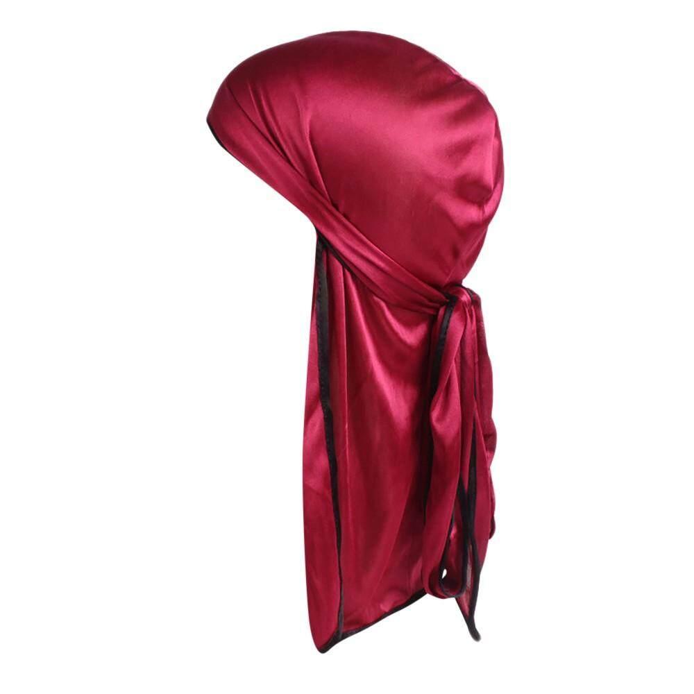 visitmini shop Unisex India Muslim Stretch Turban Silk Smooth Long Tail Hat Head Scarf Wrap