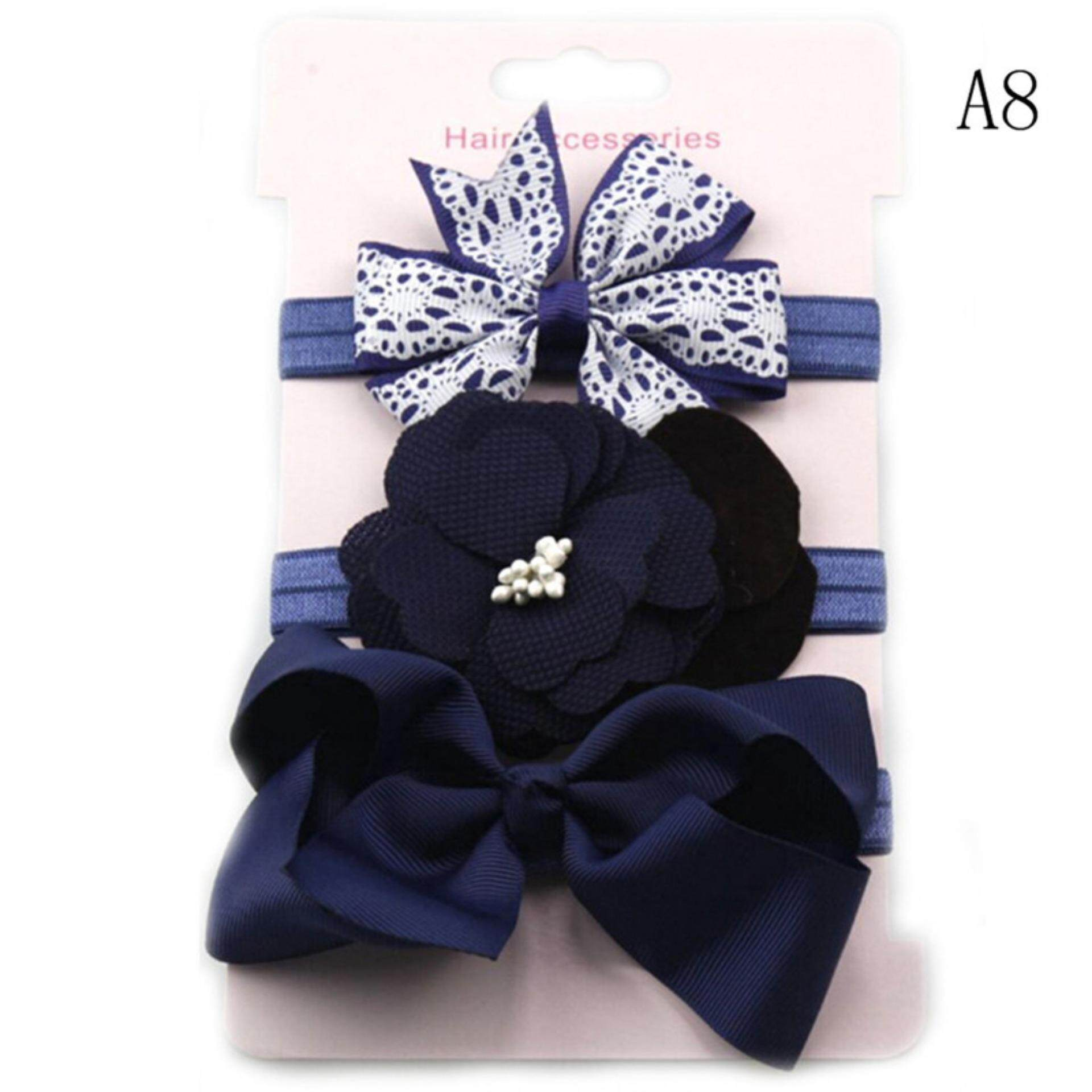 3pcs//Set Baby Girl Headband Ribbon Elastic Headdress Kids Hair Band Newborn Bow
