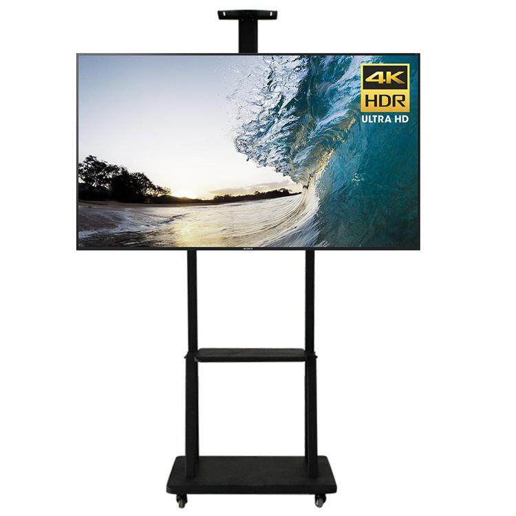 """Mobile TV Carts Floor TV Stand Mount Movable TV Trolley Bracket With Wheels and Large Shelf Storage Fit for 32""""-65"""" TV Max Support 100kg"""