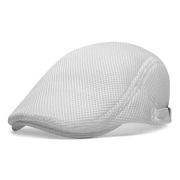 Men Summer Mesh Beret Cap Breathable Visor Flat Hat Adjustable Solid Color Newboy Hat