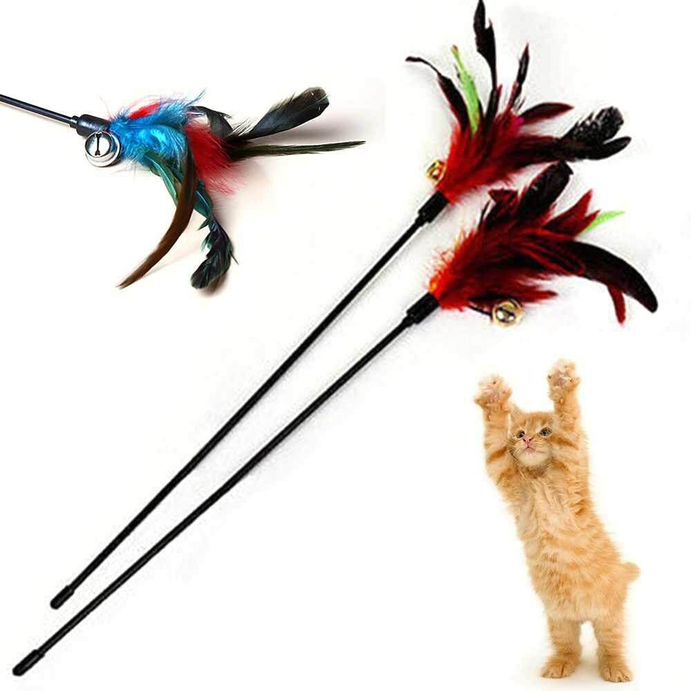 LJAN Pet Cat Interactive Fun Toy Colorful Plastic Tease Stick With Double Bells - intl image on snachetto.com