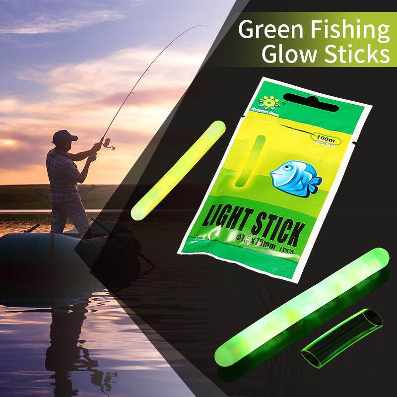 50PCS (1box) Dia:7.5X75MM Big Green Fishing Glow Sticks Night Light Fishing Tube