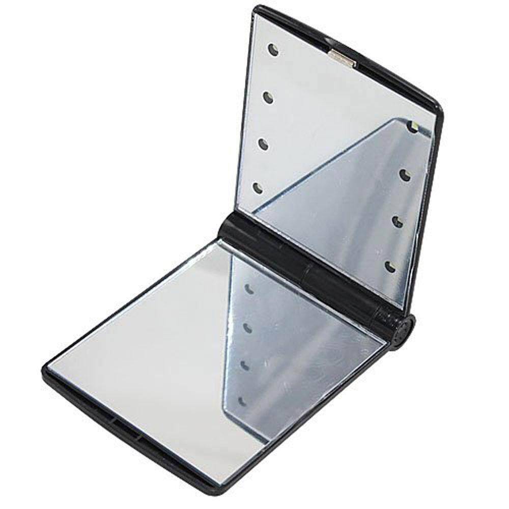 Wanying 8 LED Light Kosmetik Make Up Compact Portable Folding Fold Mirror, Hitam-Intl
