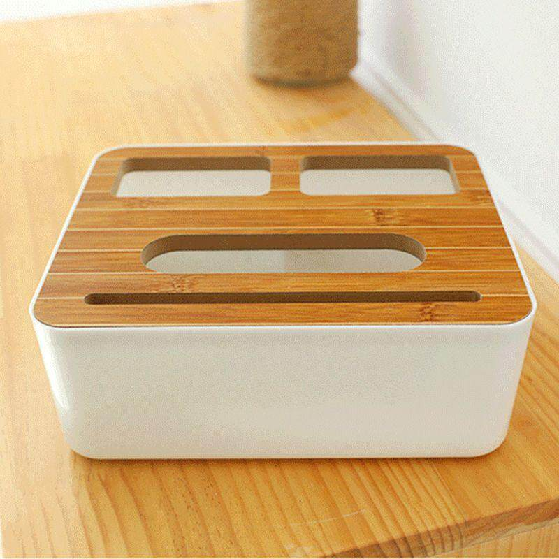 3 Styles Removable Plastic Tissue Box With Wooden Cover Phone Holder Napkins Case Home Organizer Decoration