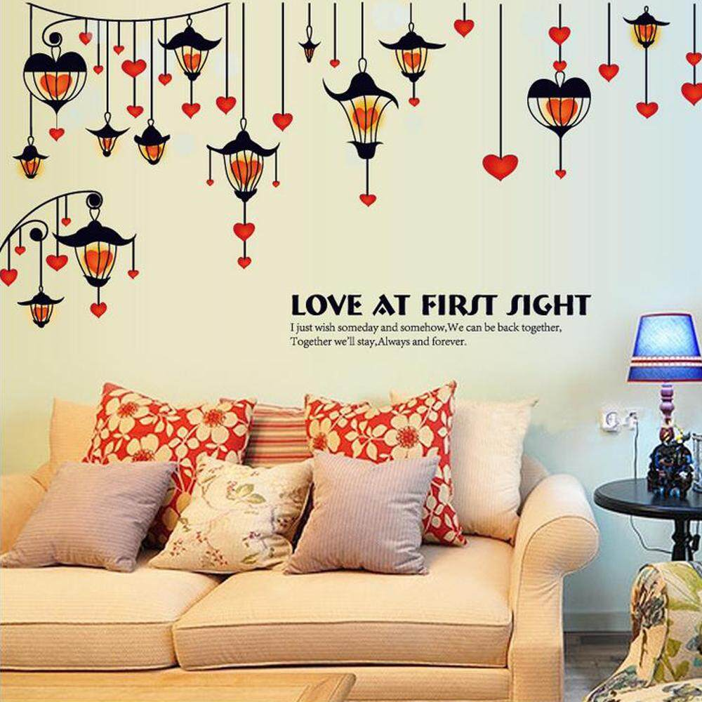 Red Heart Streetlight PVC Wall Decals DIY Home Sticker WallPaper Vinyl Wall arts Pictures Removable Murals For House Decoration Baby Living Rooms Bedroom Toilet