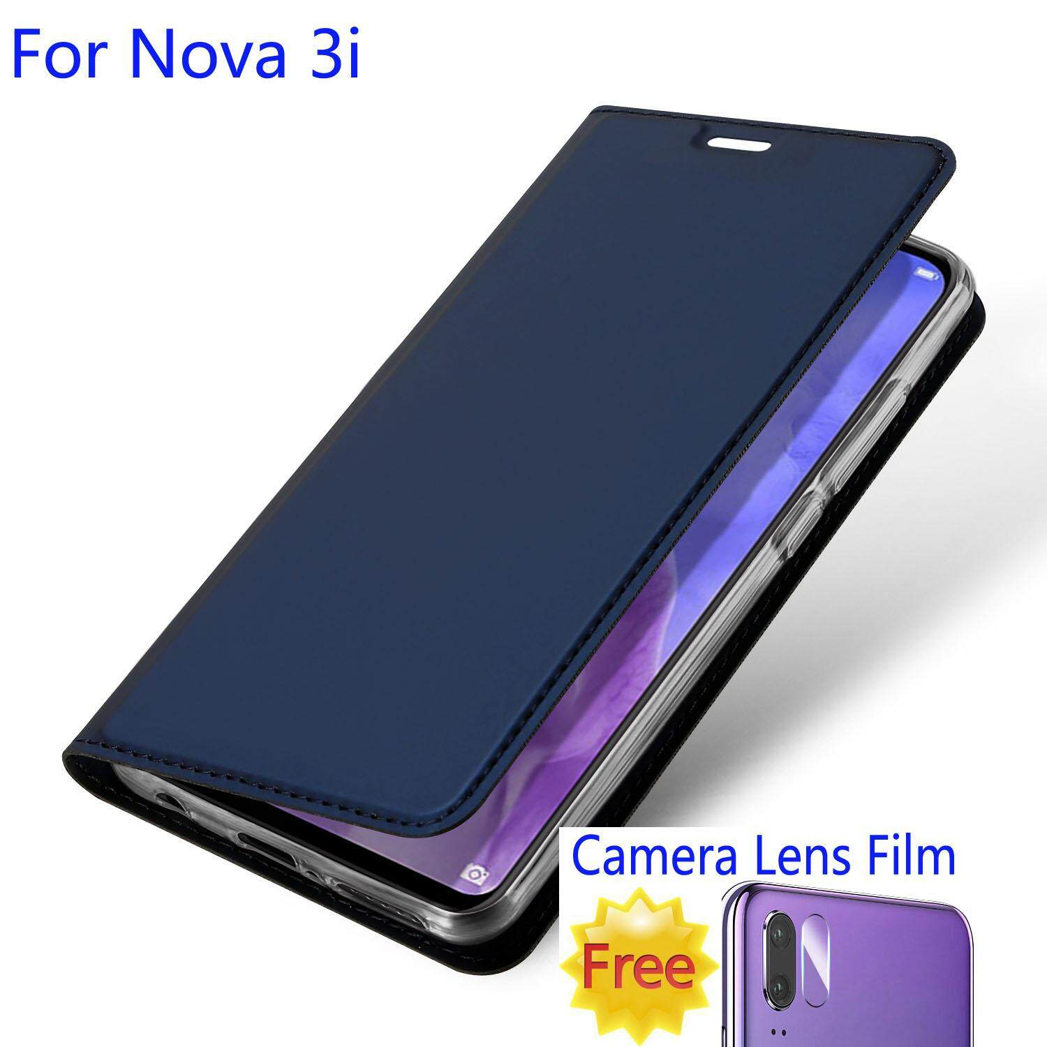 sale retailer 0d182 86e05 For Huawei Nova 3i Wallet Case Leather Flip Stand Cover with Camera Lens  Soft Tempered Glass Protector Film