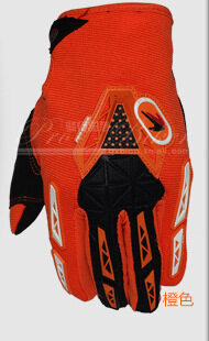 Pro Autumn And Winter Thickened Warm Motocross Gloves Bike Riding All Finger Gloves Knight Motorcycle Gloves(Color:Orange)(Size:M)