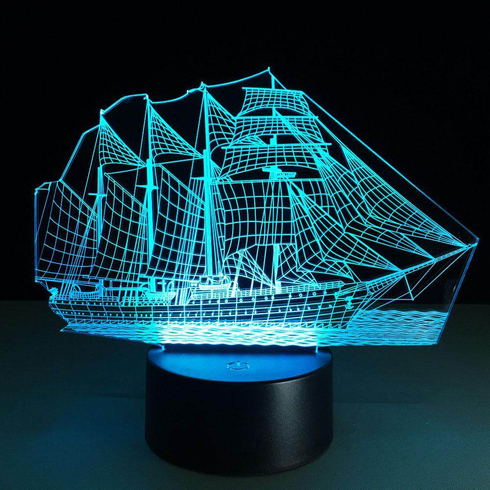 Boat with Acrylic 3D Night Light 7 Color Chang USB Desk Lamp Table Touch Control Decoration Light Best For Gift