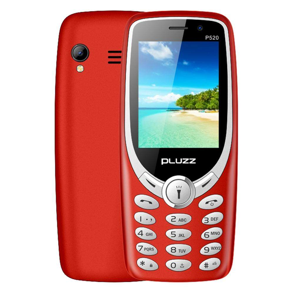 PLUZZ P520 6531E 1800mAh One Key Open Four Torches Elder Feature Phone Mobile Phone for Elderly Kids Students - Red/Yellow