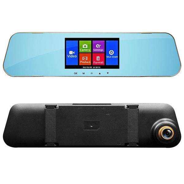 "4.3"" Full HD 1080P Dual Lens Car Dash Camera 140Wide Angle Front and Rear Mirror Mount DVR"