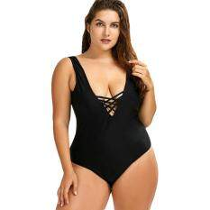 Cutout Open Back Plus Size One Piece Swimwear (BLACK) – intl
