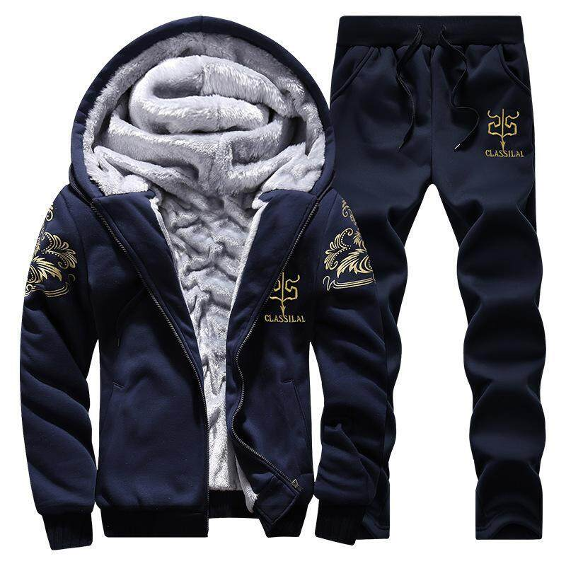 4ecb00f7a061 Winter Men Sweat Suits Fleece Warm Mens Tracksuit Set Casual Sportwear  Suits Jacket + Pants And