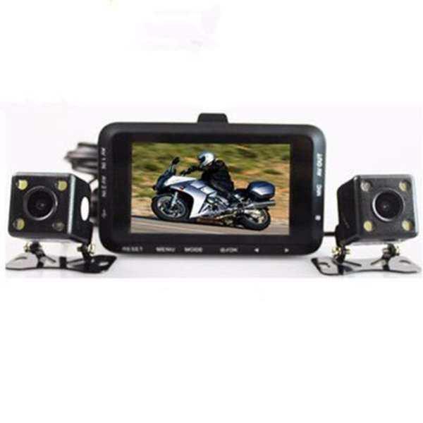 "GETEK 3"" LCD Motorcycle DVR HD Action Camera Dual Lens 720P Video Recorder Night Vision"