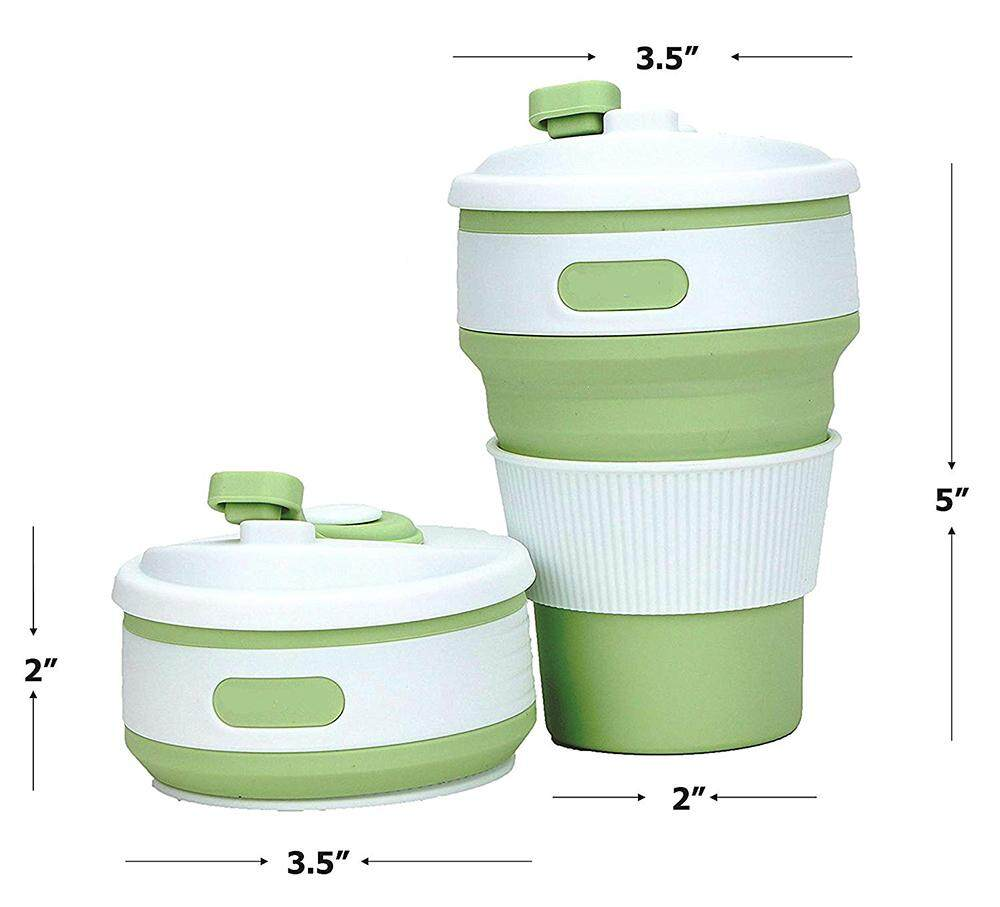 Collapsible Coffee Mug Foldable 12oz Drinking Cup with Lid for Water//Coffee//Tea