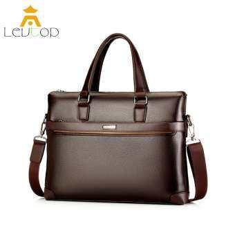 LEVTOP ธุรกิจเครื่องหนังผู้ชายกระเป๋ากระเป๋าธุรกิจกระเป๋าผู้ชายถือหรือสะพายไหล่สไตล์วินเทจหนัง Men Business Bag-