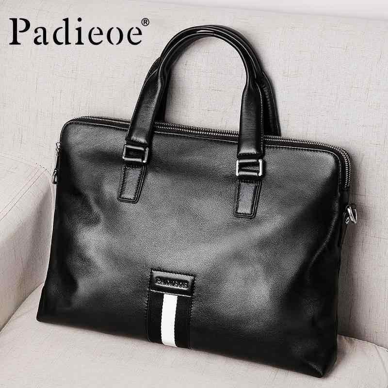 EverPro Padieoe Genuine Leather Handbag 14 inch Laptop Bags Fashion Messenger Bag Men Leather Briefcase Business for Male Shoulder Bag