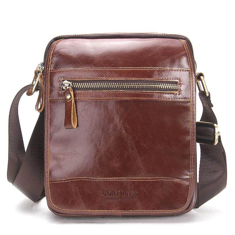 60646d480ad399 (hot sale) CONTACT'S MB076-Redbrown Genuine Leather Men Messenger Bags  Casual Vegetable Leather