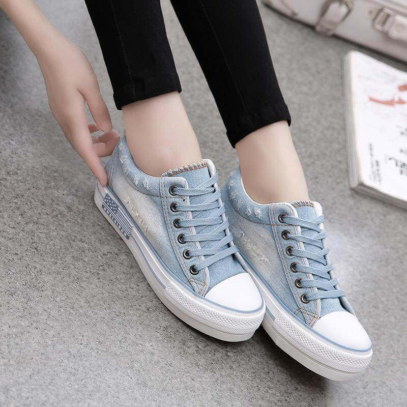 e1190cd6a4 shoes women's thick bottom increased denim shoes student casual ladies  cloth shoes