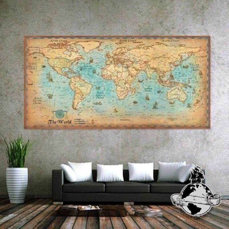 Nautical Ocean Sea World Map Retro Old Paper Painting Home Decoration Sticker