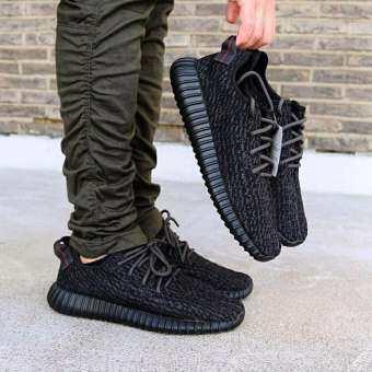 ผู้ชายรองเท้าผ้าใบ Yeezy 350 Boost Trainers Breathable กีฬาสบายๆรองเท้ากีฬาสีดำ-