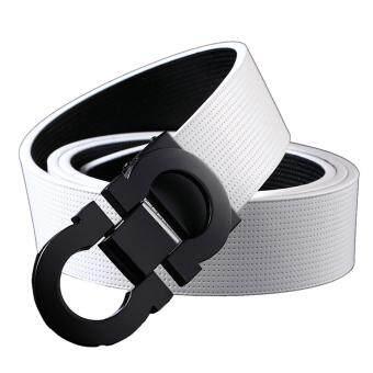 OVIA Men's Reversible Belt 35mm in Width Smooth Bukcle Belt (White-Black)