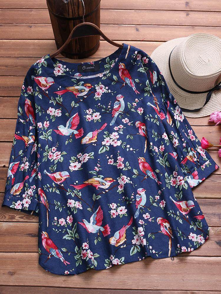 O-NEWE Women Casual Loose Plus Size Top Tee T Shirt Vintage Retro Boho Floral Blouse