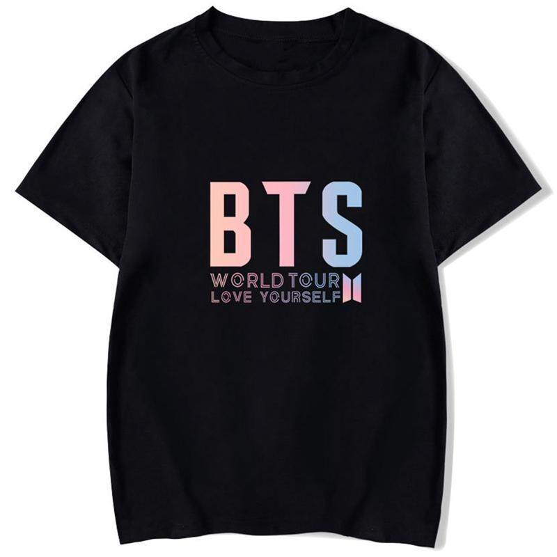 Kuhong Women Kpop BTS Tour Concert Letters Printing Fashion Loose Short Sleeve T-shirt