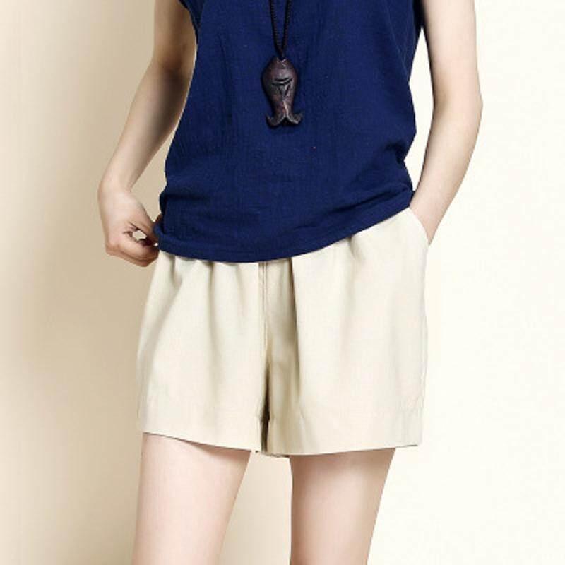 9 colors Loose linen cotton sports shorts wide leg pants - intl