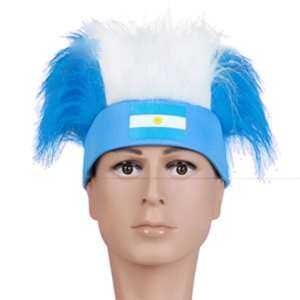Hình ảnh Novelty Cool 2018 World Cup Hair Wig Football Soccer Fans Hats Headband with National Flag Color Argentina - intl