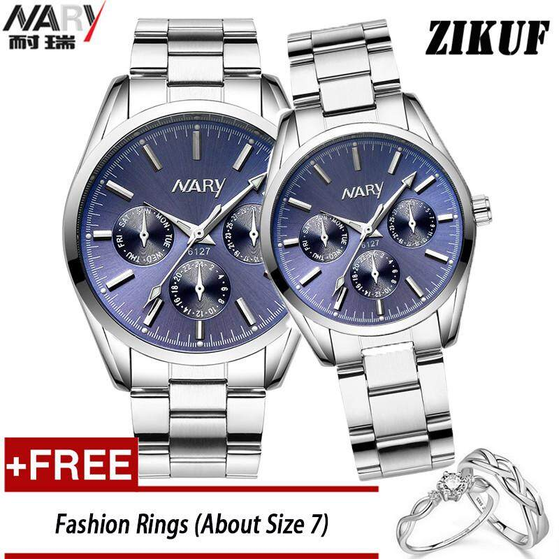 NARY 6127 Fashion Couple Watches Waterproof Full Stainless Steel Wrist Men Watch And Women Watches  + Free Adjustable Couple Rings