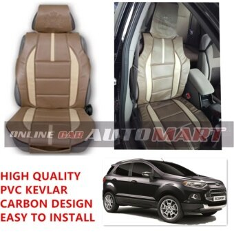 ROYAL R Kevlar Seat Cushion Seat Mat Carbon Design 1 Pc MADE IN THAILAND (BROWN+BEIGE) For FORD ECOSPORT