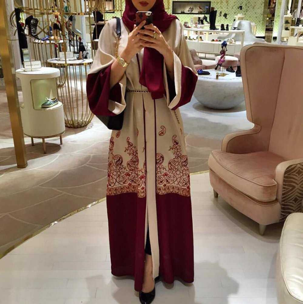 Cetak Ramadan Dubai Merah Abaya Fashion Jubah Muslim Gaun Pakaian Seremonial Muslim Wanita Cantik Pakaian Muslim