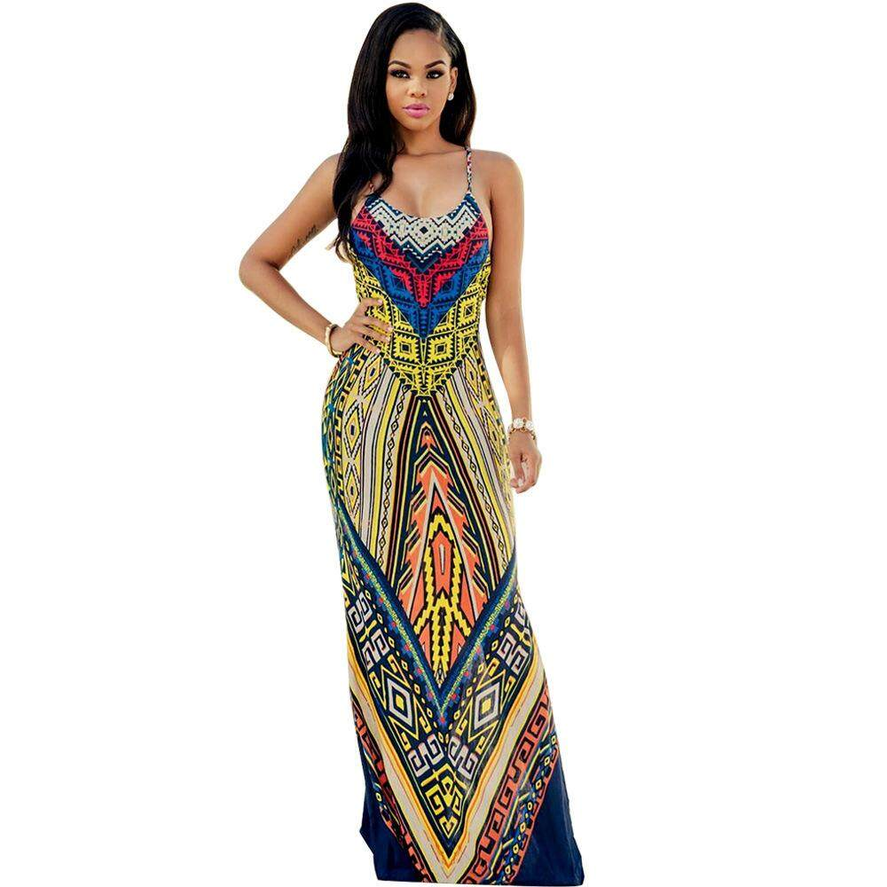 63f32ee9ae5 European and American printed vest, long dress, new dress dress is simple,  comfortable