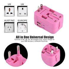 Travel Charger US UK EU AU All-in-One Universal Portable Plug Adapter Travel Wall Outlet Converter 2 USB Red – intl