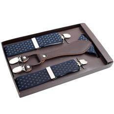CHEER Men 4 Clips Suspenders Belt Adjustable Jacquard Y-back Suspenders For Pants Dark blue – intl