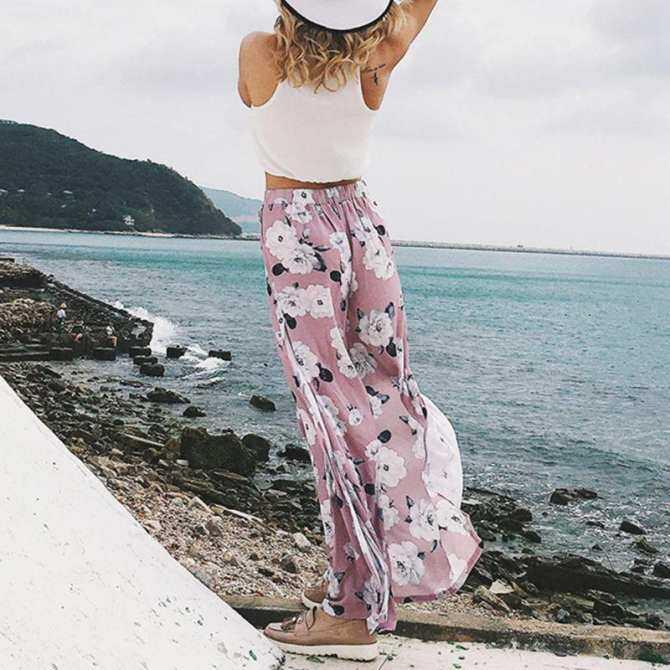 2018 Musim Panas Baru Wanita Sifon Panjang Bunga Celana Cetak Fashion Panjang Penuh Bunga Celana Kulot