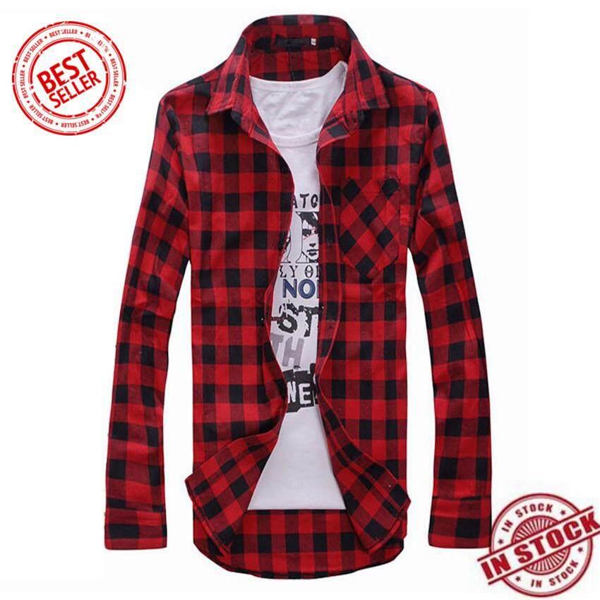 100% Cotton   PROMOTION   2019 Autumn Winter New Quality Update Men s  Plaid Shirts 772e67ad8fc2