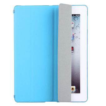 For iPad 4 / 3 / 2 Solid Color Horizontal Flip Leather Case with Holder & Sleep / Wake-up Function (Blue)