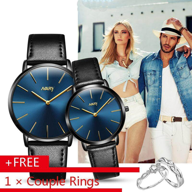 Nary 6134 2Pcs Couple Lovers' Watches Luxury Fashion Business Waterproof Simple Leather Watch Quartz Waterproof Men Women Watches Wristwatch