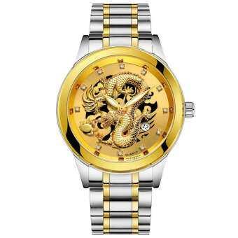 BPFAIR_กันน้ำบุรุษทองมังกรประติมากรรมควอตซ์นาฬิกาหรูผู้ชายเหล็กนาฬิกาข้อมือ Free shipping-
