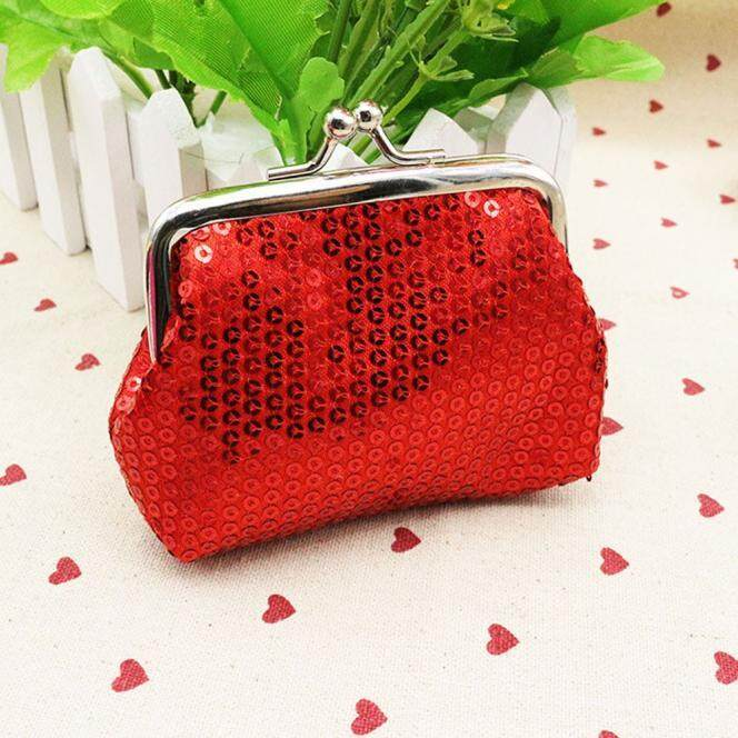 Womens Small Sequin Wallet Card Holder Coin Purse Clutch Handbag Bag BK