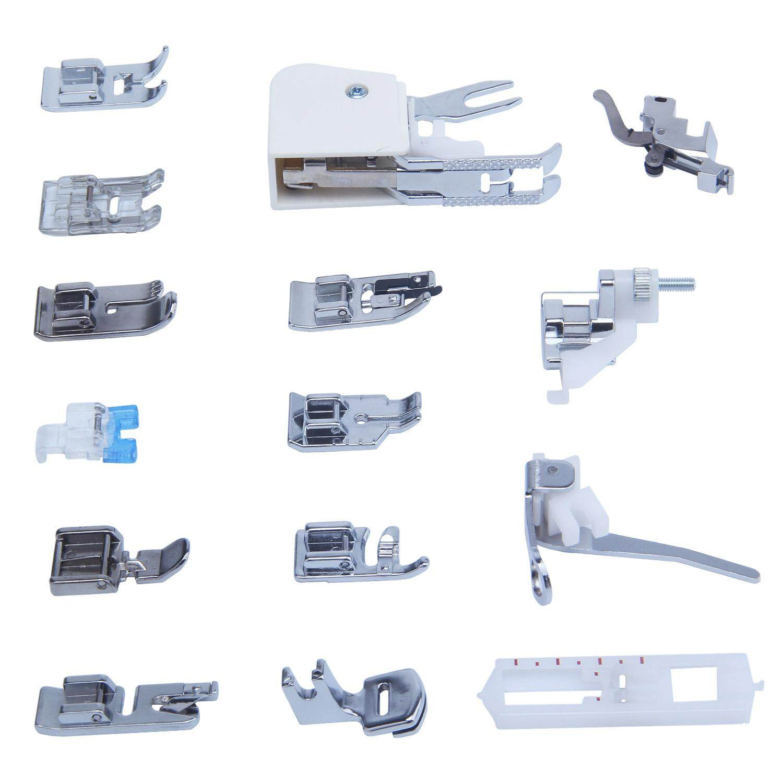weisizhong Sewing Machine Presser Walking Feet Kit (Silver and White)