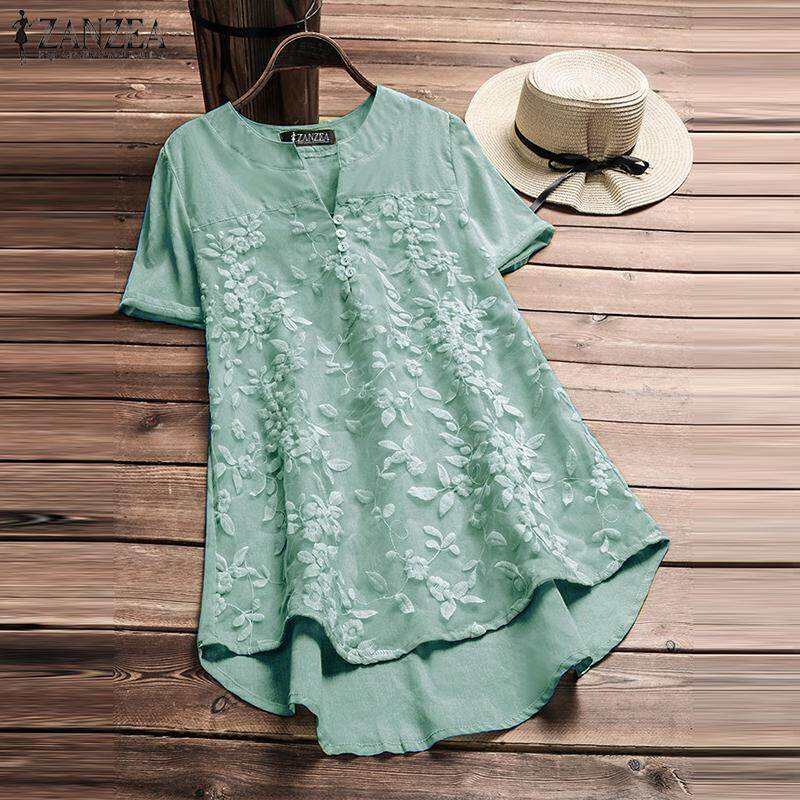 ZANZEA Women Plus Size Floral Top Tee T Shirt V Neck Flare Basic Solid Tunic Blouse เสื้อเบลาส์และเสื้อเชิ้ต