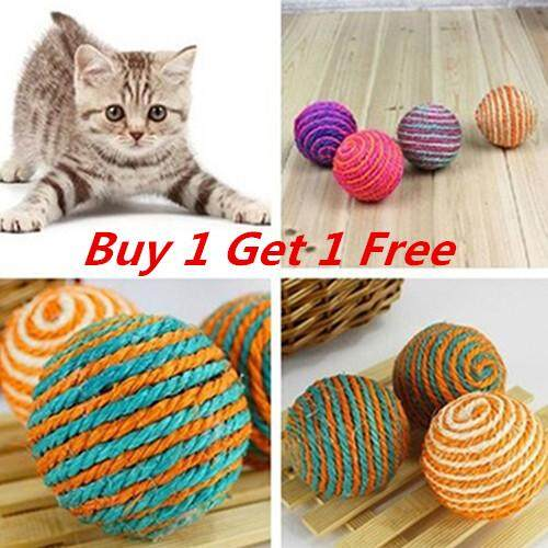Bluelans Cat Pet Sisal Rope Weave Ball Teaser Play Chewing Rattle Scratch Catch Toy image