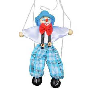Hình ảnh Funny Wooden Pull String Puppet Toy Clown Marionette Joint Activity Doll Educational Toy for Children Kids Christmas Halloween Gifts Random Color - intl