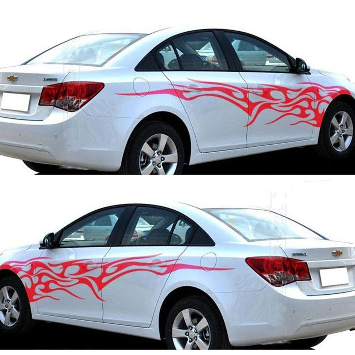 Product details of 2 pcs tribal flames graphics vinyl decal graphics car body stickers tuning decals flame red