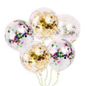 Hình ảnh 30 Pcs 12 Inch Golden Sequins Confetti Balloons Colorful Latex Party Balloons for Thanksgiving Christmas Wedding Festivals Birthday Baby Shower Party Decorations (Transparent) - intl